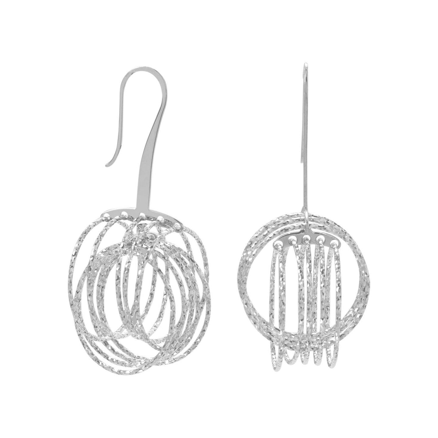 Made in Italy Rhodium Plated 3D Orbital Rings Hoops Earrings Italian Jewelry - Shop Italy and Sicily Gifts Made in Italy Italian Themed