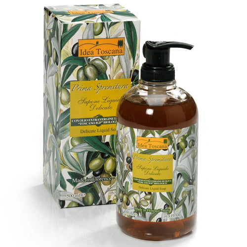 Prima Spremitura Organic Olive Oil Delicate Liquid Soap, 500 ml/16.9 oz - Shop Italy and Sicily Gifts Made in Italy Italian Themed