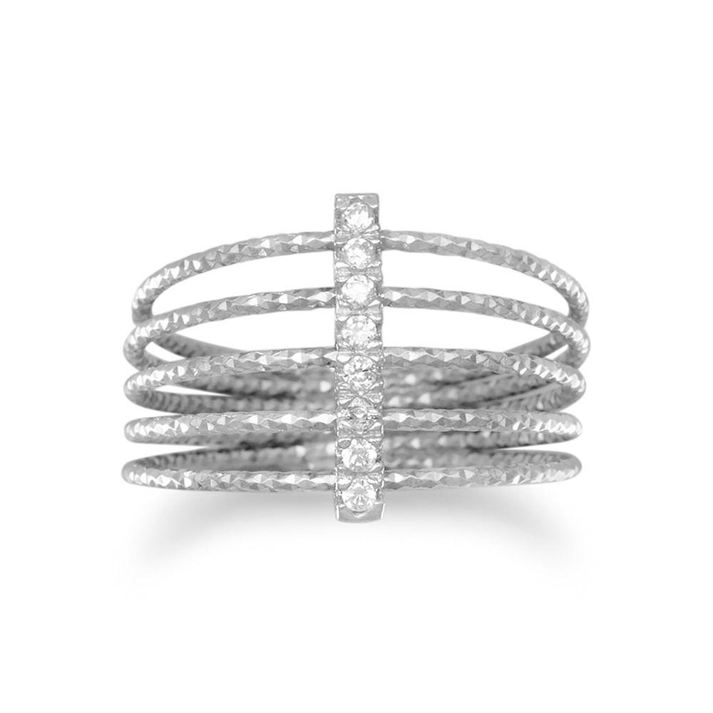 Made in Italy Rhodium Plated Multirow Twisted Wire Ring with CZ Bar ...