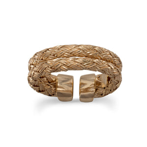 Made in Italy 14 Karat Gold Plated Double Woven Band Ring Italian Jewelry - Shop Italy and Sicily Gifts Made in Italy Italian Themed