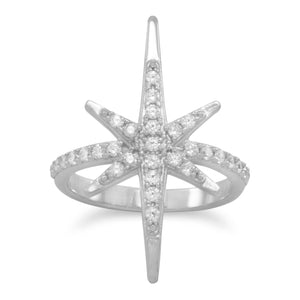 Made in Italy Rhodium Plated CZ Starburst Ring Italian Jewelry - Shop Italy and Sicily Gifts Made in Italy Italian Themed