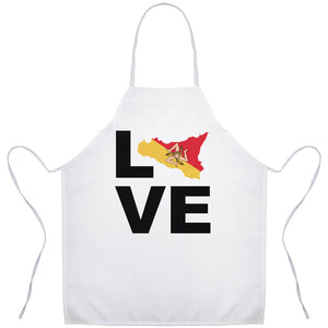 Love Sicily Sicilian Trinacria Apron - Shop Italy and Sicily Gifts Made in Italy Italian Themed