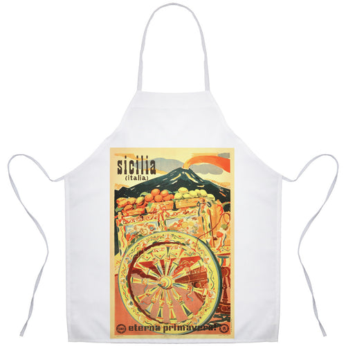 Vintage Poster Art Sicilian Cart Sicilia Italia Art Apron - Shop Italy and Sicily Gifts Made in Italy Italian Themed