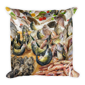 Fish Market Italy Sicily Square Pillow