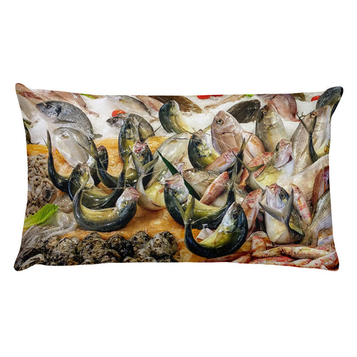 Sleeping with the fishes Sicily Italian Fish Market Rectangular Pillow