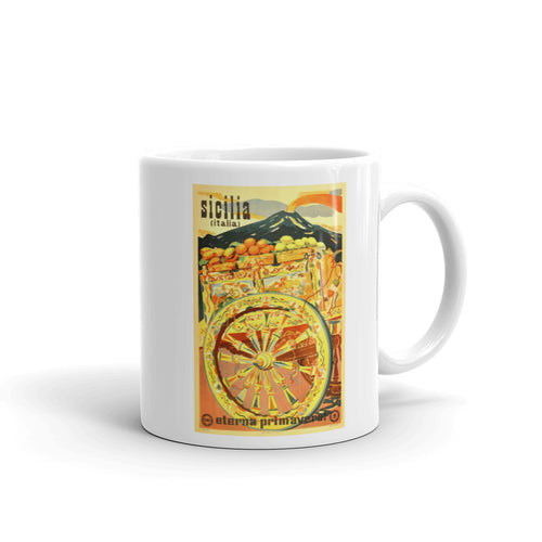 Sicilia Eterna Primavera Vintage Travel Poster Mug - Shop Italy and Sicily Gifts Made in Italy Italian Themed