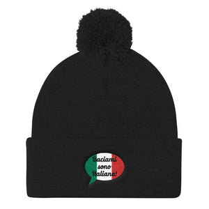 Baciami Sona Italiana Ladies Kiss Me I'm Italian Pom Pom Knit Cap - Shop Italy and Sicily Gifts Made in Italy Italian Themed