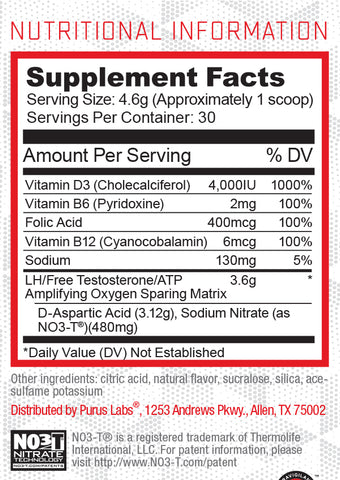 D-Pol powder nutrition panel