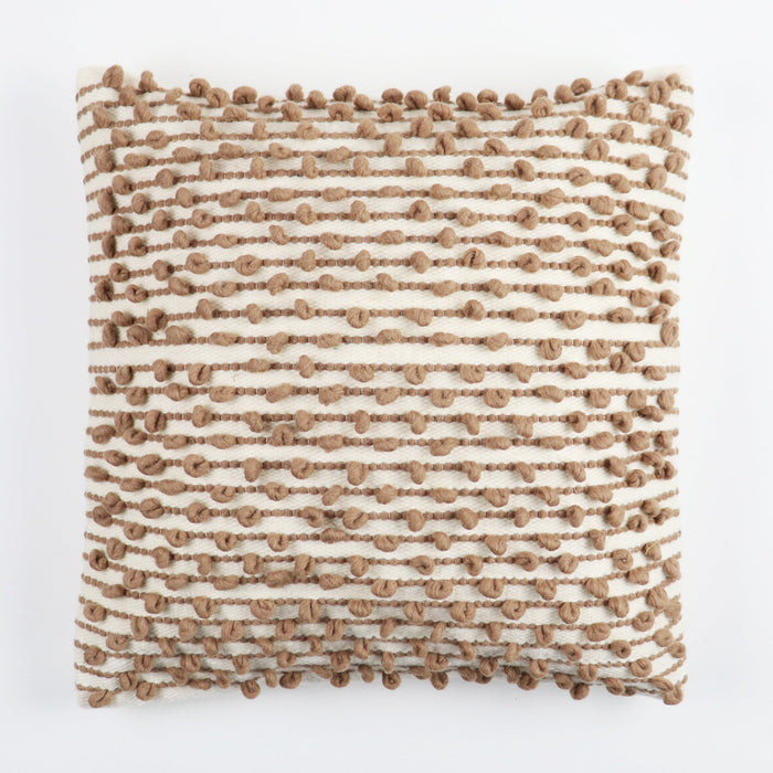 Camel and creme square pillow handmade from premium wool with texture