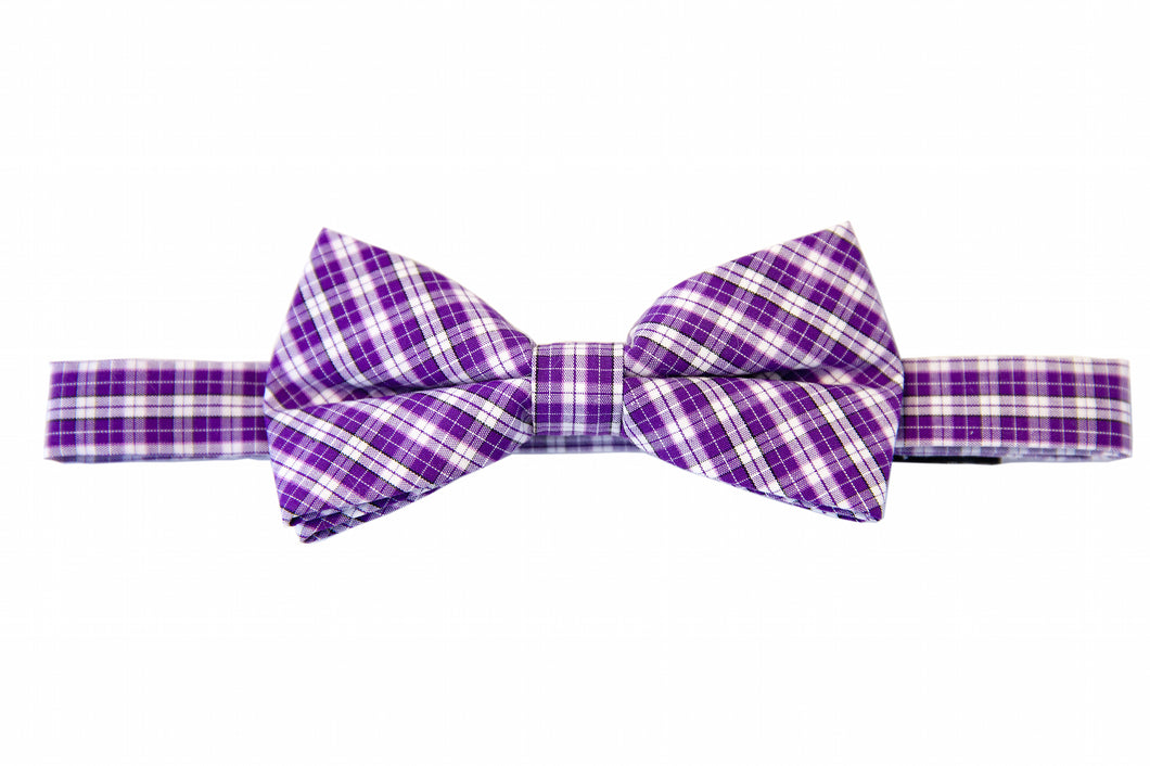 Purple bow ties, Plaid bow ties