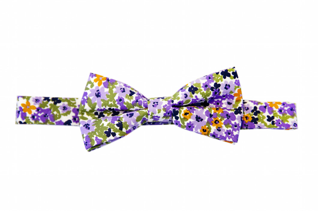 Floral bow tie, Purple bow die