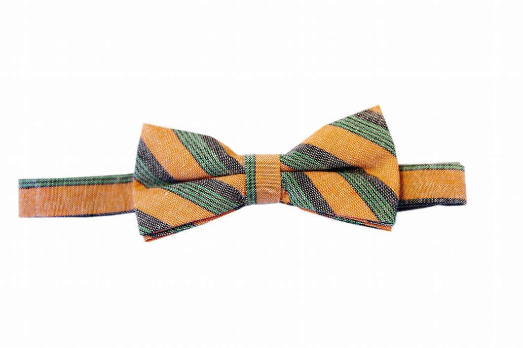 orange bow tie, Striped bow tie