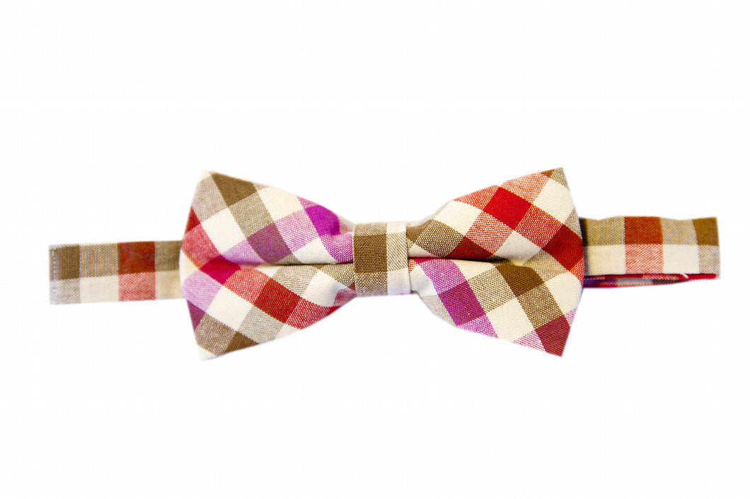 Pink bow ties, Plaid bow ties