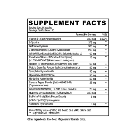 Condemned Labz Arsyn Supplement Facts