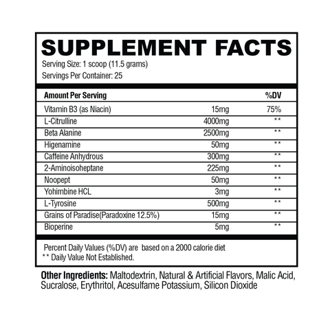 Condemned Labz Convict Supplement Facts
