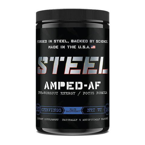 Steel Supplements AMPED-AF Blue Raspberry 30 Servings