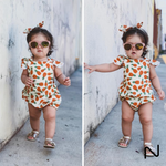 Romper Fofo Naty Baby + Laço - Abacaxi