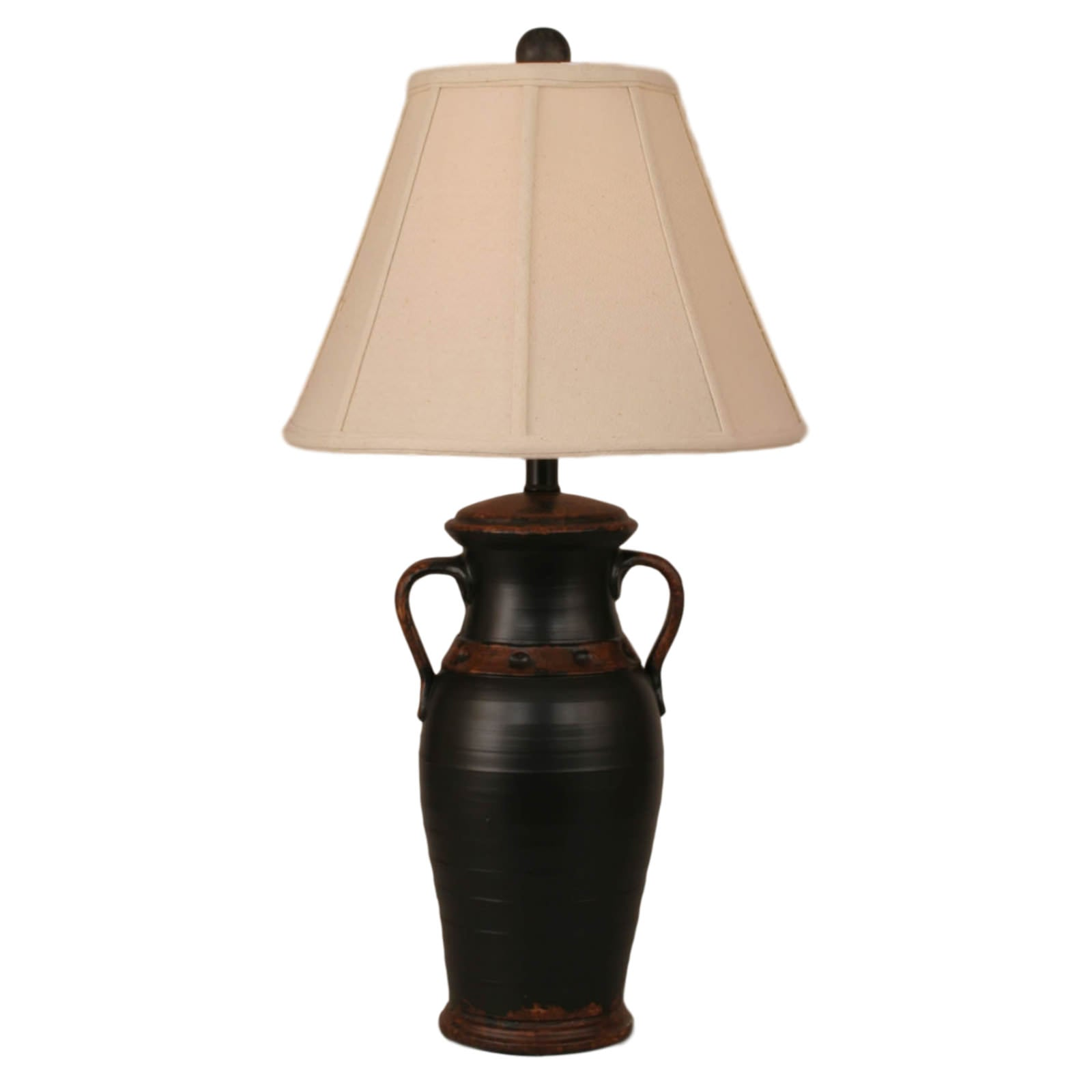 Aged Black Rustic Pot Table Lamp