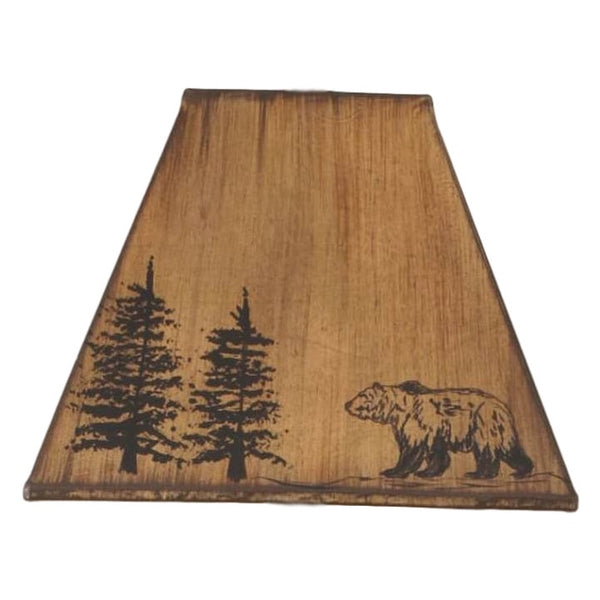 Faux Leather Bear & Pine Lamp Shade