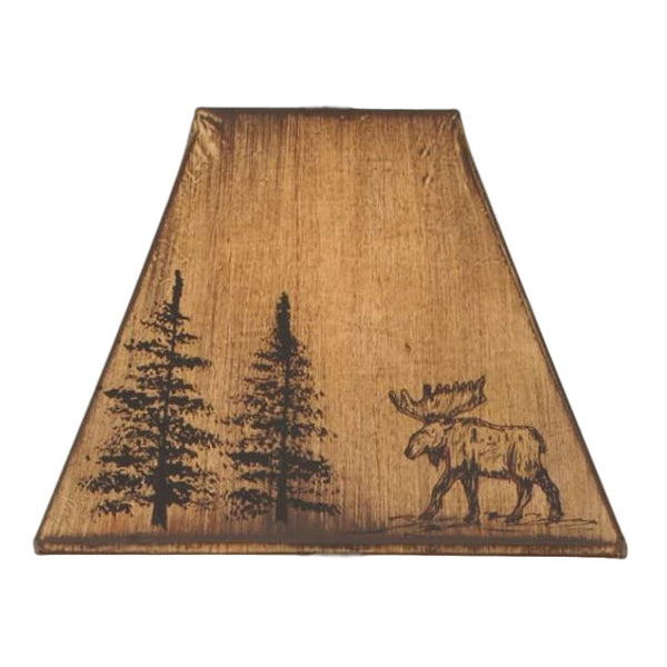 Faux Leather Moose & Pine Lamp Shade