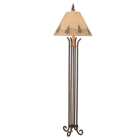 Iron 4-Leg Pine Tree Floor Lamp