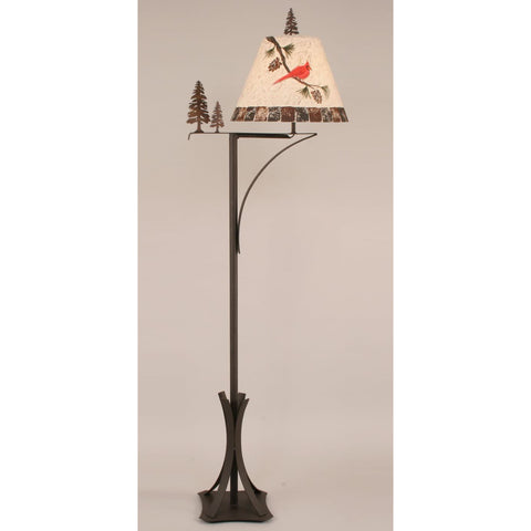 Iron Arm Pine Tree Cardinal Floor Lamp