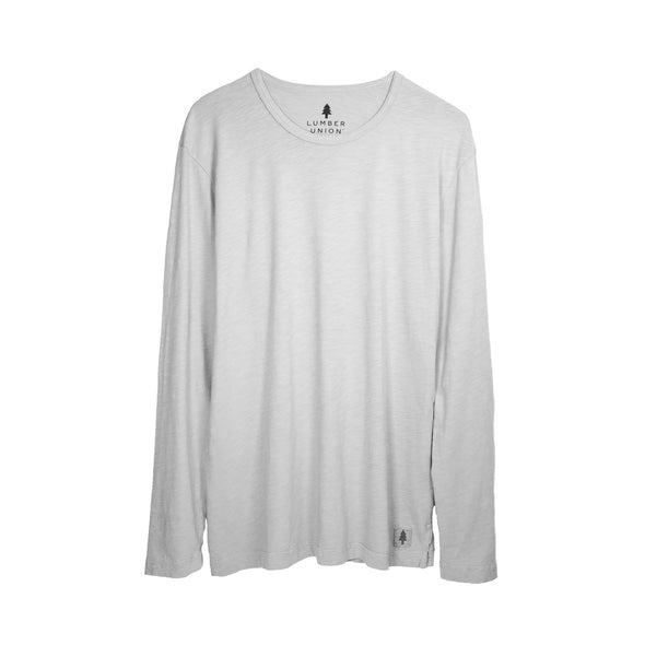 LumberUnion Gray long sleeve tee - Mt Bachelor flat lay