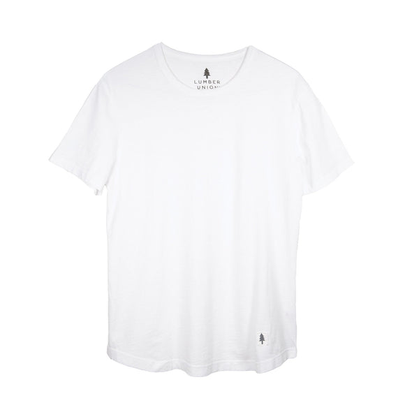 LumberUnion white short sleeve tee - PNW flat lay
