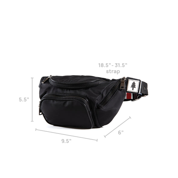 LumberUnion black fanny pack - outdoor festival dimensions