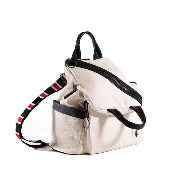 LumberUnion white backpack - skyline convertible bag front