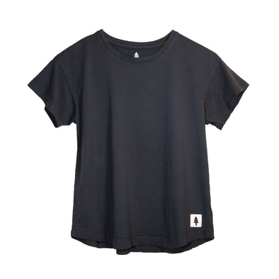 LumberUnion black short sleeve tee - Bark Bark flat lay