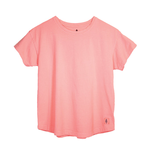 LumberUnion pink short sleeve tee - Bark Bark flat lay