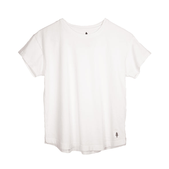 LumberUnion white short sleeve tee - Bark Bark flat lay
