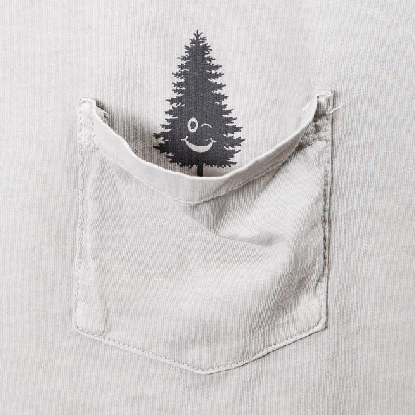 LumberUnion gray short sleeve tee - winking tree close up