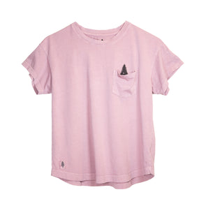 LumberUnion pink short sleeve tee - winking tree flat lay
