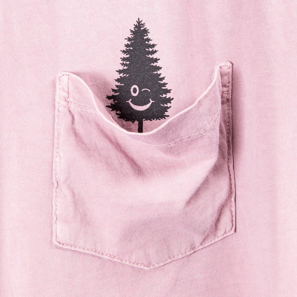 LumberUnion pink short sleeve tee - winking tree close up