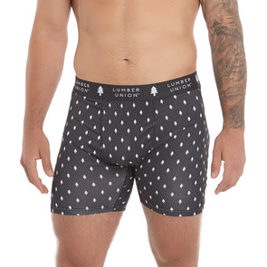 LumberUnion Men's Tagless Soft Stretch Spandex Graphic Boxer Briefs - Black Signature Print
