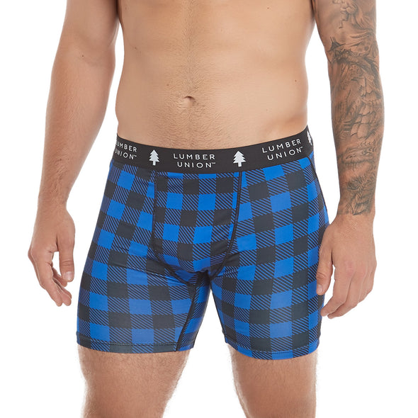 LumberUnion Men's Tagless Soft Stretch Spandex Graphic Boxer Briefs - Blue Vintage Buffalo Plaid