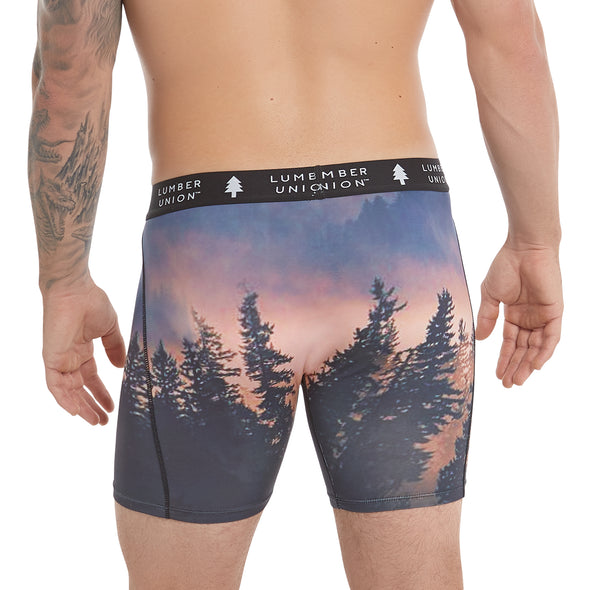 "Men's Tagless Soft Stretch Spandex Scenic PNW Series Boxer Briefs — ""Dusk - Tiger Mountain, WA"""