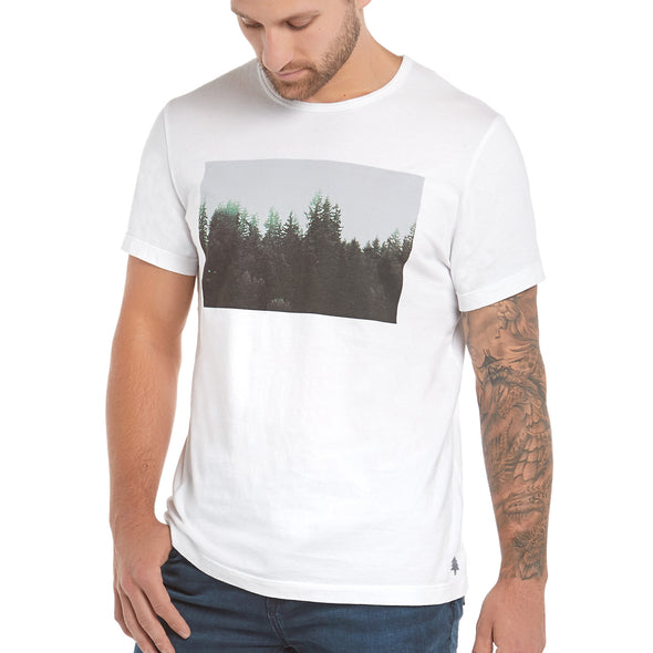"Men's Short-Sleeve Scenic PNW Series Cotton Tee — ""Mist - Tiger Mountain, WA"""