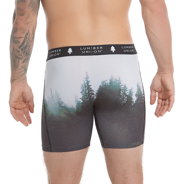 "Men's Tagless Soft Stretch Spandex Scenic PNW Series Boxer Briefs — ""Mist - Tiger Mountain, WA"""