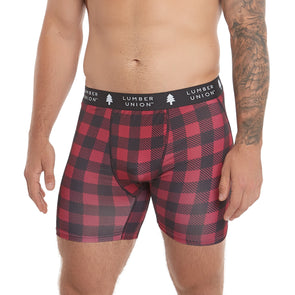 LumberUnion Men's Tagless Soft Stretch Spandex Graphic Boxer Briefs - Red Vintage Buffalo Plaid