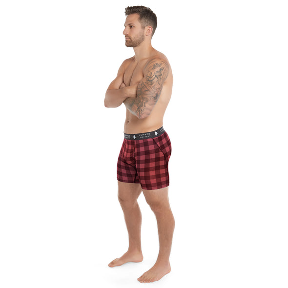 LumberUnion Men's Tagless Soft Stretch Spandex Plaid Boxer Briefs