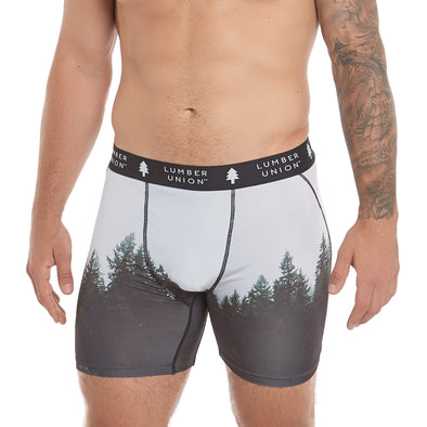 LumberUnion Men's Tagless Soft Stretch Spandex Graphic Boxer Briefs - Mist