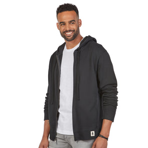 LumberUnion Men's 100% Cotton French Terry Hoodie Sweatshirt (Black)