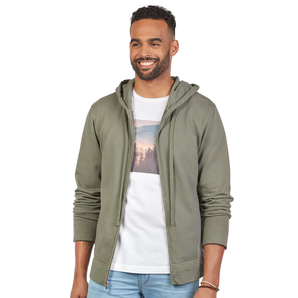 LumberUnion Men's 100% Cotton French Terry Hoodie Sweatshirt (Olive Green)