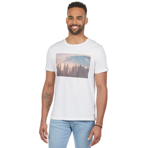 "Men's Short-Sleeve Scenic PNW Series Cotton Tee — ""Dusk - Tiger Mountain, WA"""