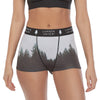 "Women's Soft Spandex High Waisted Boyshort Scenic PNW Series Underwear — ""Mist - Tiger Mountain, WA"""