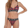LumberUnion Women's Soft Spandex String Bikini Graphic Underwear - Red Vintage Buffalo Plaid