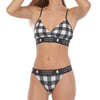 LumberUnion Women's Soft Spandex String Bikini Graphic Underwear - White Vintage Buffalo Plaid